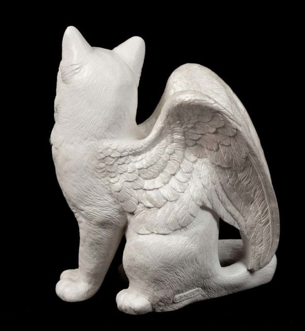 Large Bird-Winged Flip Flap Cat - Snow White - back view